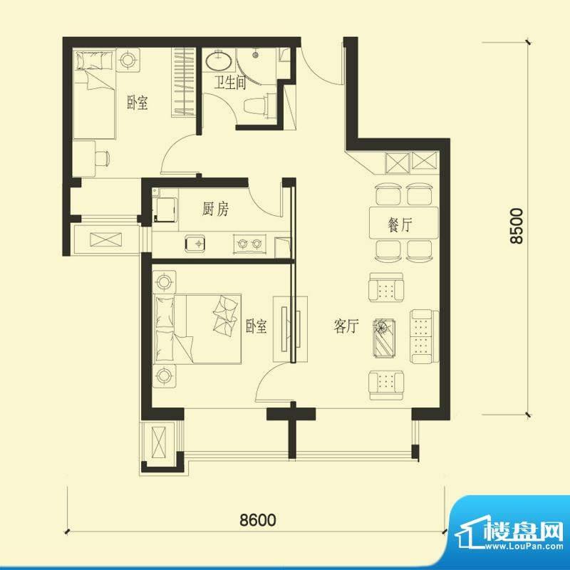 金融街·融汇A1户型 2室2厅1卫面积:79.00平米
