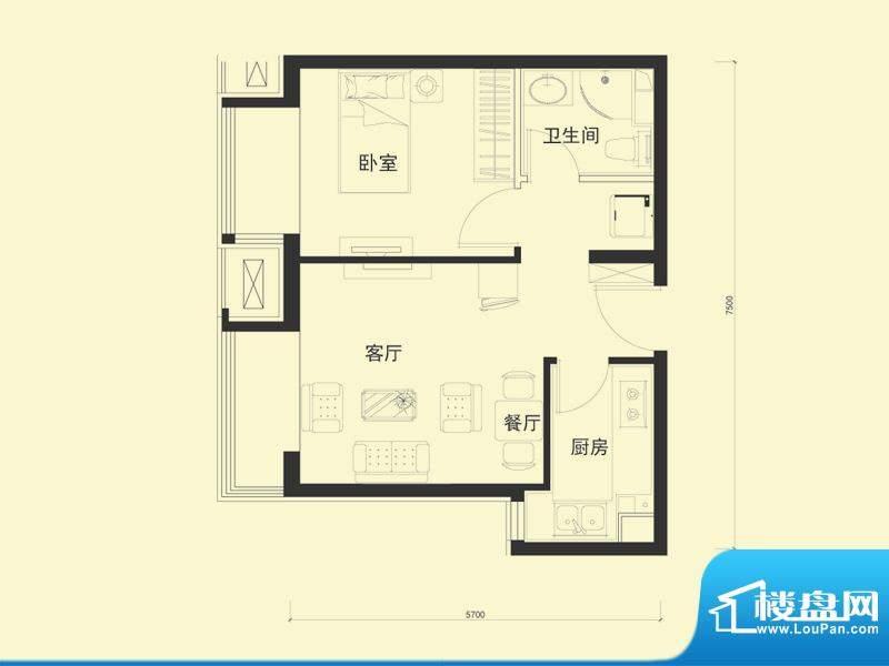 金融街·融汇G户型 1室1厅1卫1面积:54.00平米