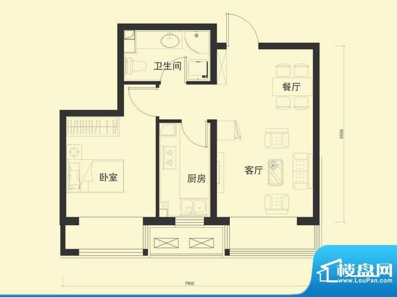 金融街·融汇F户型 1室1厅1卫1面积:57.00平米