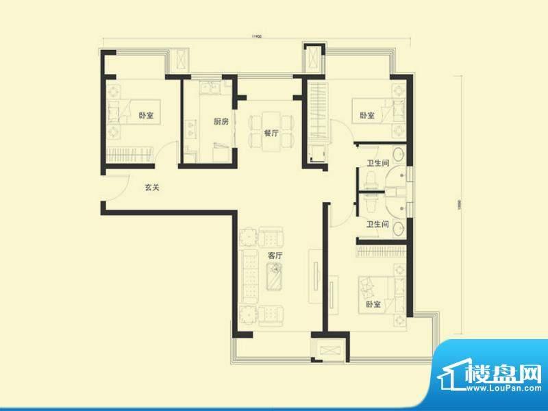金融街·融汇E户型 3室2厅2卫1面积:117.00平米