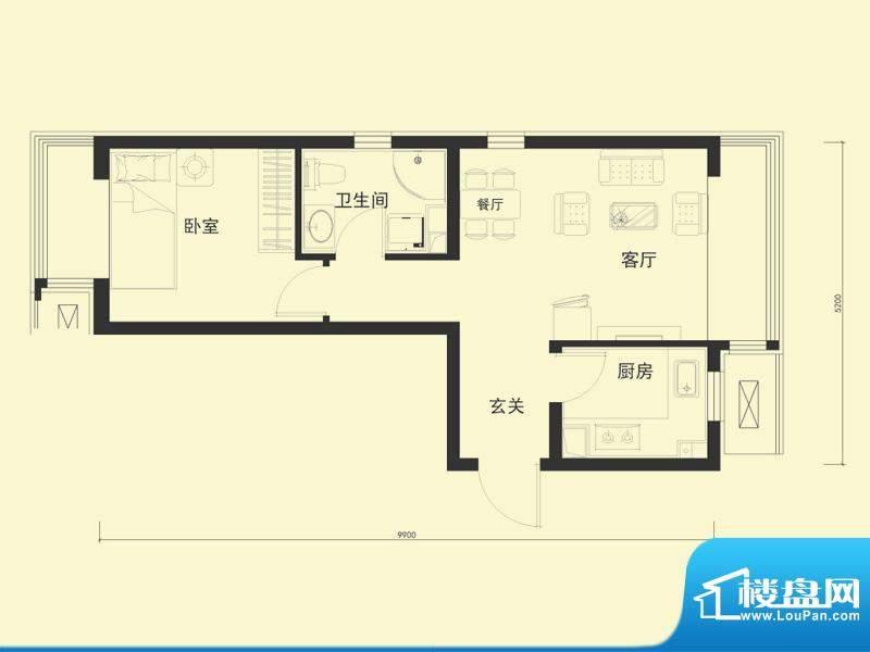 金融街·融汇H户型 1室1厅1卫1面积:55.00平米