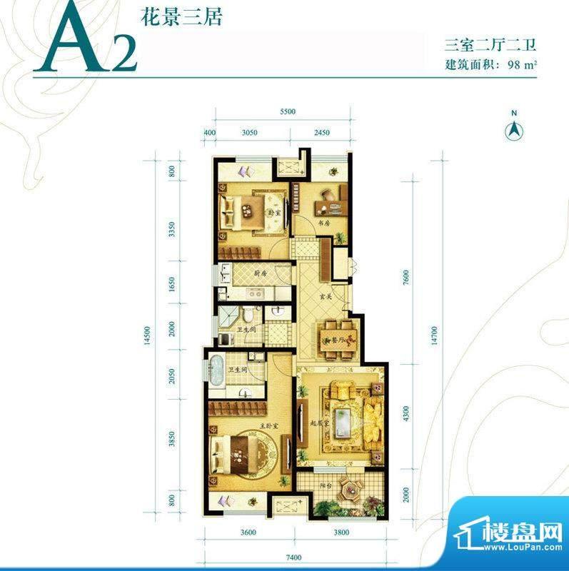 金地朗悦A2户型图 3室2厅2卫1厨面积:98.00平米