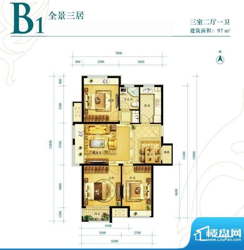 金地朗悦B1户型图3室2厅1卫1面积:97.00平米