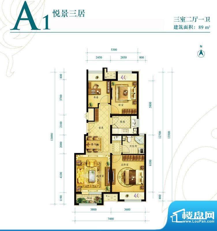 金地朗悦洋房A1户型图 3室2厅1面积:89.00平米