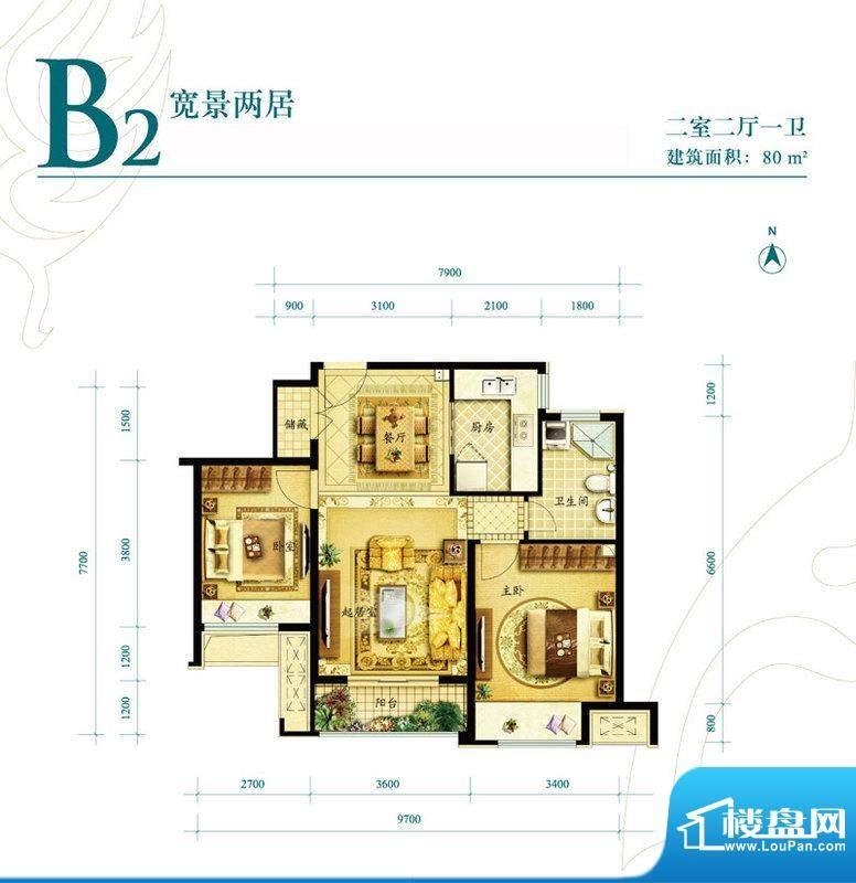 金地朗悦小高层B2户型图 2室2厅面积:80.00平米