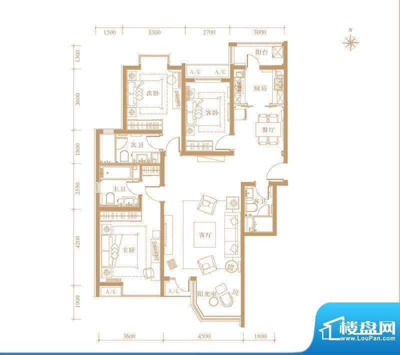 合生世界花园02户型 3室2厅3卫面积:154.00平米