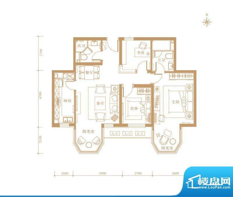 合生世界花园03户型 3室3厅2卫面积:114.00平米