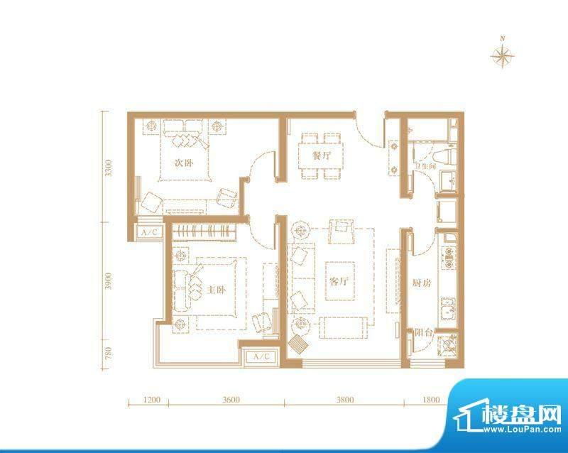 合生世界花园05户型 2室2厅1卫面积:89.00平米