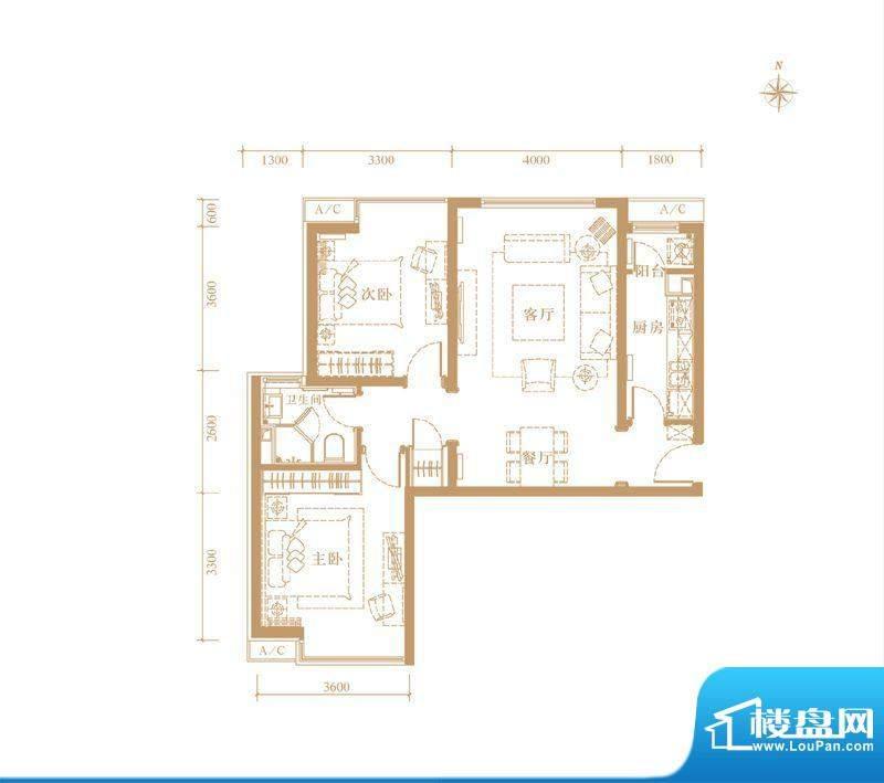 合生世界花园C户型 2室2厅1卫1面积:94.00平米