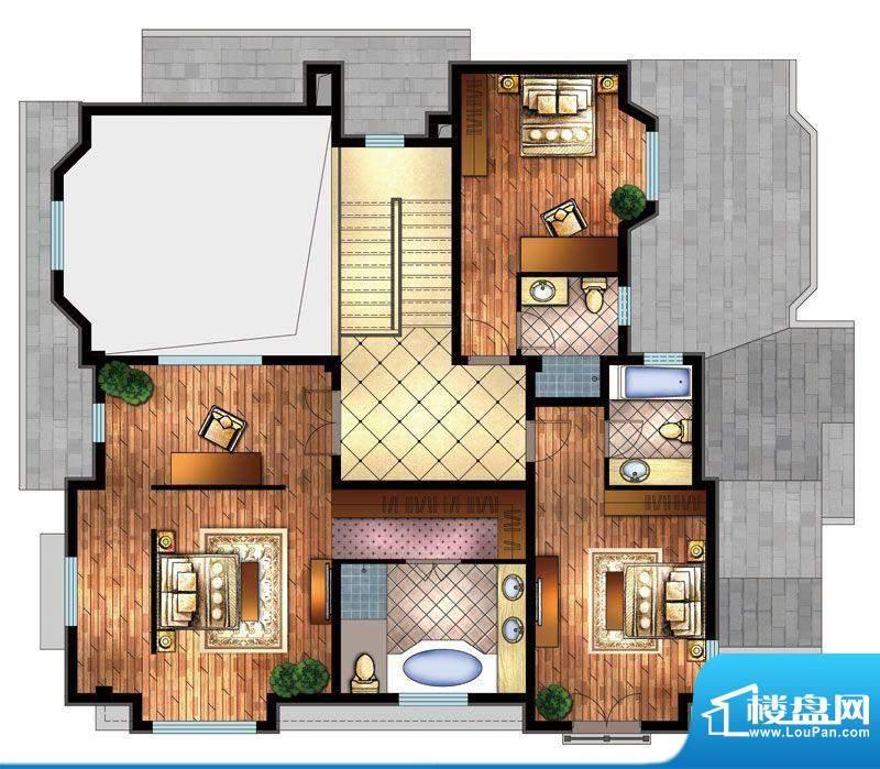 首创·澜茵山F户型二层 3室3卫