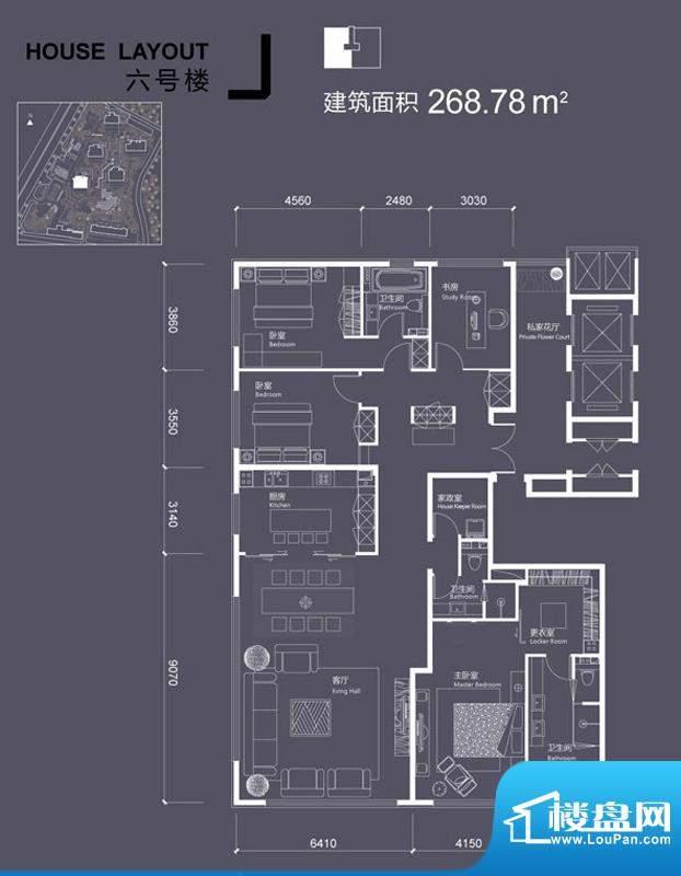 红玺台6号楼J户型 4室2厅3卫1厨面积:268.78平米