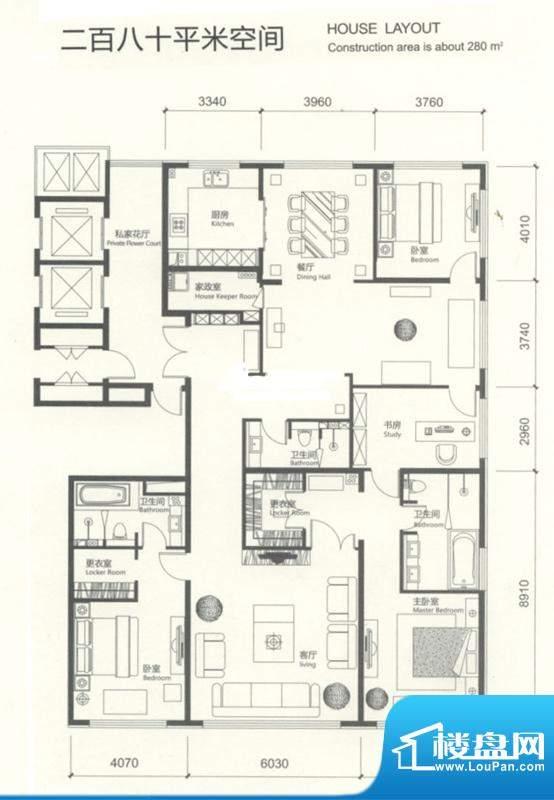 红玺台四居户型图 4室2厅3卫1厨面积:280.00平米
