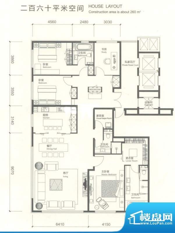 红玺台四居户型图 4室2厅2卫1厨面积:260.00平米