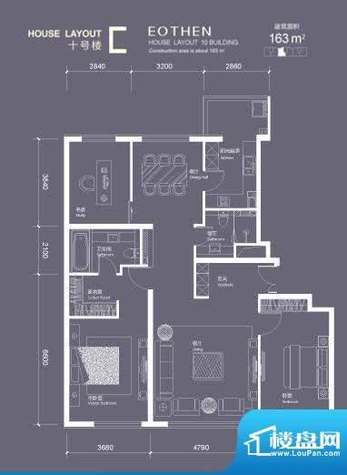 红玺台C户型 2室2厅2卫1厨面积:163.00平米