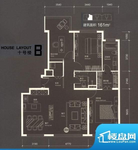 红玺台B户型 3室2厅2卫1厨面积:161.00平米