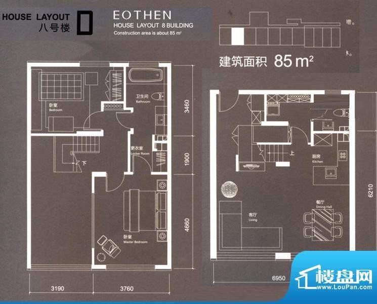 红玺台D户型 2室2厅2卫1厨面积:85.00平米