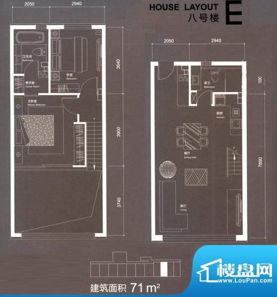 红玺台E户型 2室2厅2卫1厨面积:71.00平米