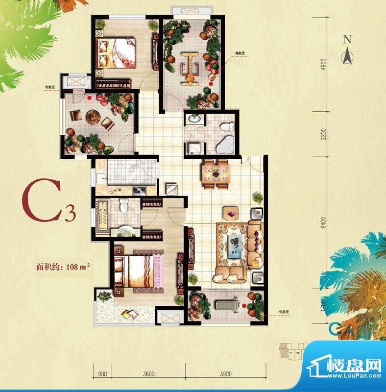 北京城建·红木林C3户型图 2室面积:108.00平米