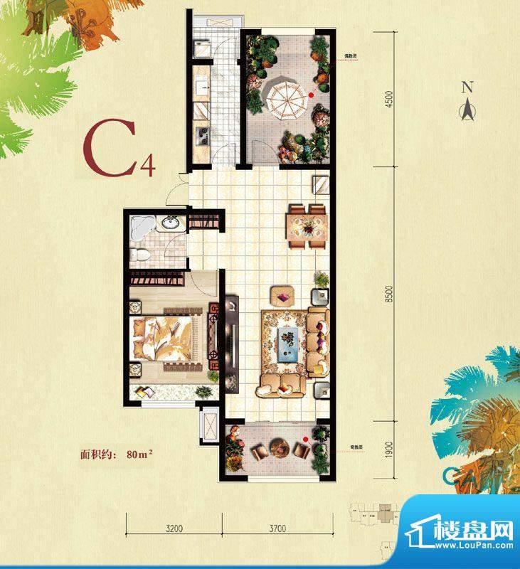 北京城建·红木林C4户型图 1室面积:80.00平米