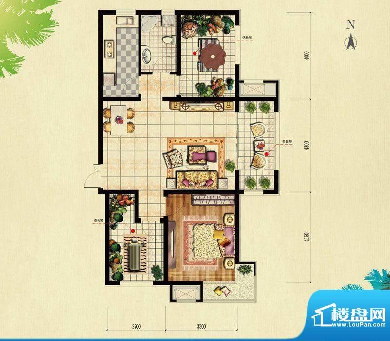北京城建·红木林B-2户型 1室2面积:81.00平米