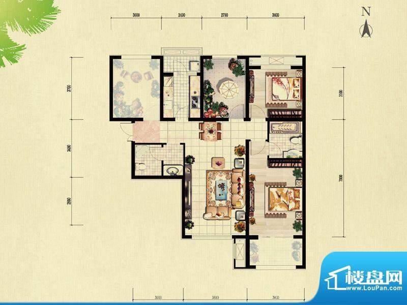 北京城建·红木林C-5户型 2室2面积:104.00平米