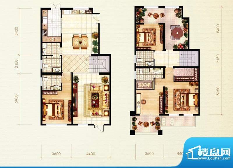 北京城建·红木林E1复式户型图面积:202.00平米