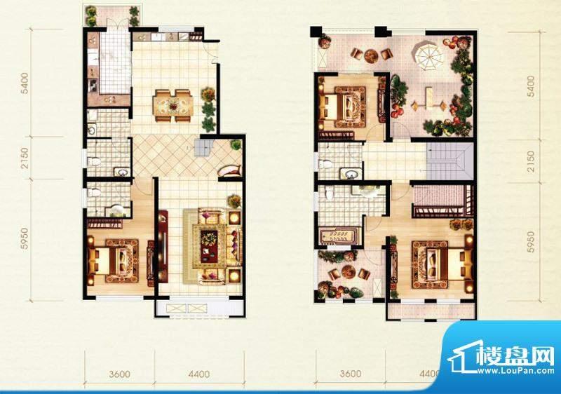 北京城建·红木林E2复式户型图面积:210.00平米