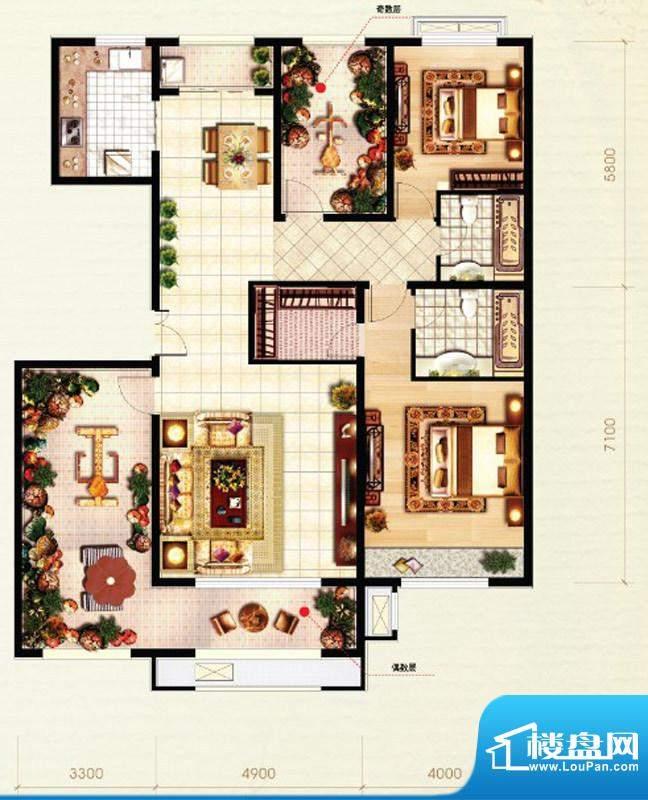 北京城建·红木林D2户型图 2室面积:153.00平米