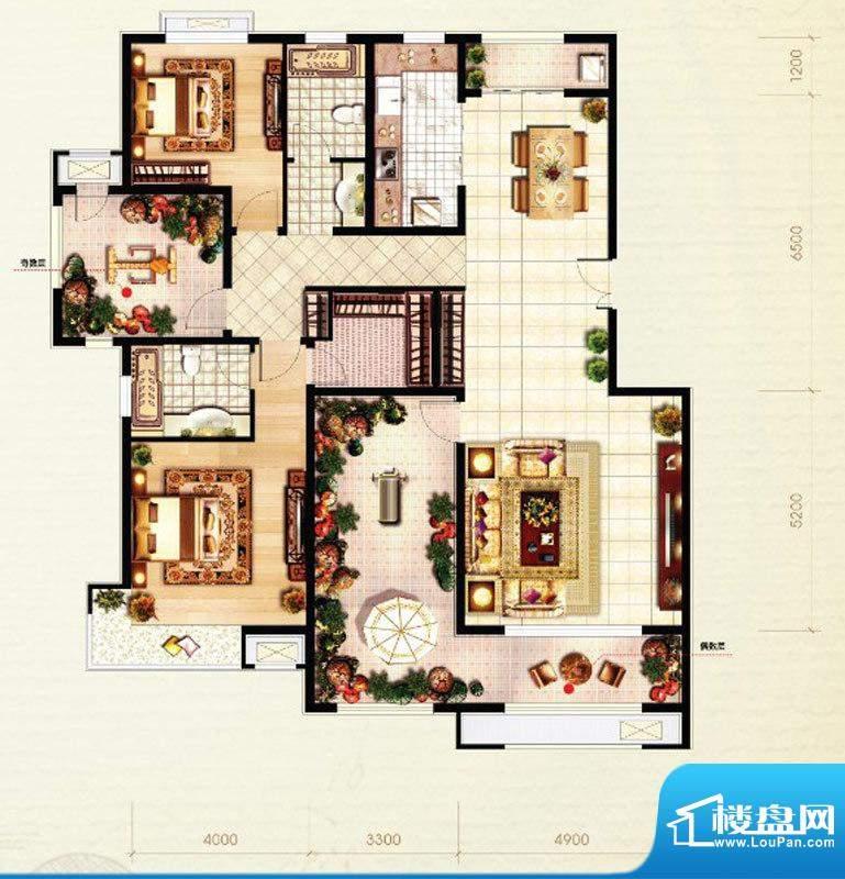 北京城建·红木林D1户型图 2室面积:138.00平米