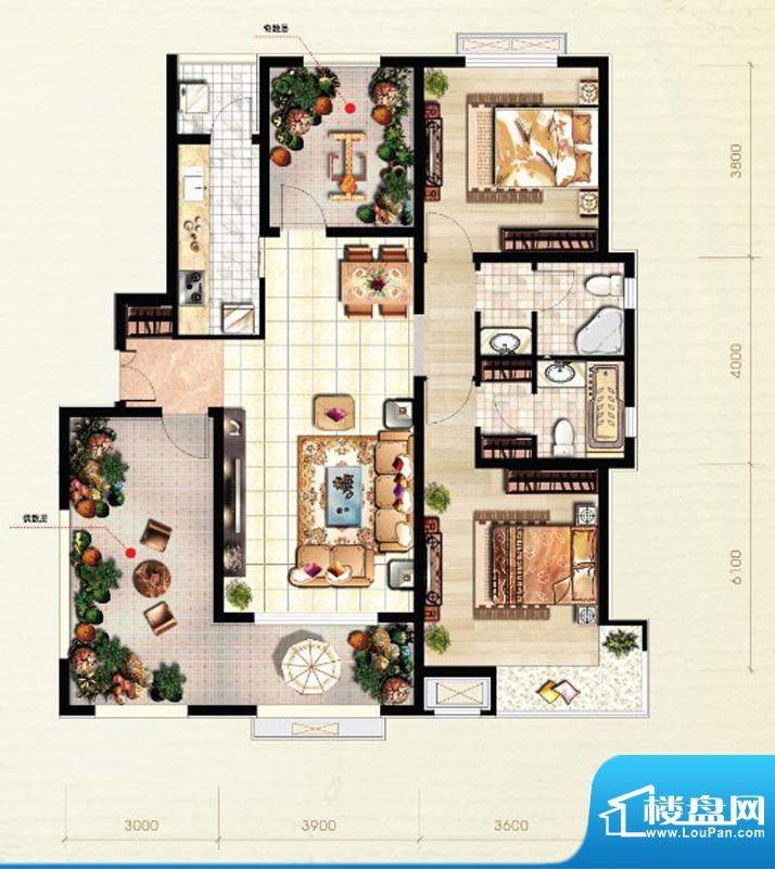 北京城建·红木林C2户型图 2室面积:109.00平米