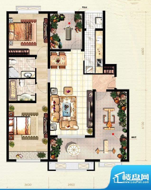 北京城建·红木林C6户型图 2室面积:108.00平米