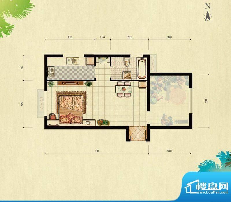 北京城建·红木林A-1户型(已售面积:55.00平米