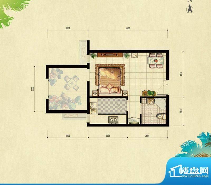 北京城建·红木林A-2户型(已售面积:44.00平米