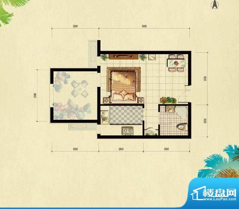 北京城建·红木林A-2偶户型(已面积:44.00平米