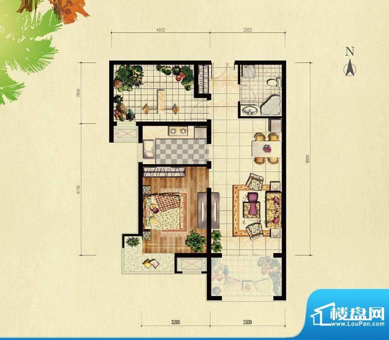 北京城建·红木林B-1户型 1室1面积:71.00平米