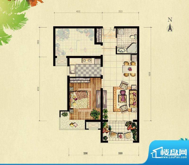 北京城建·红木林B-1偶户型 1室面积:71.00平米