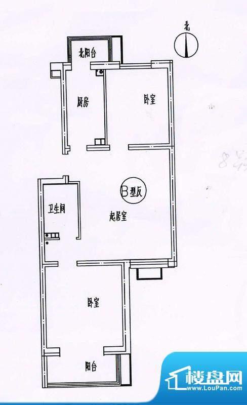 新悦家园三期17号楼B户型反 2室面积:90.00平米