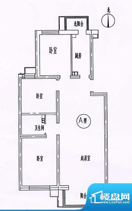 新悦家园三期17号楼A户型 3室1