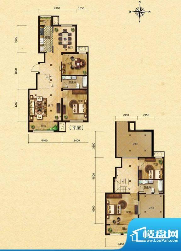 浅山香邑C2户型图 4室2厅2卫1厨面积:180.00平米