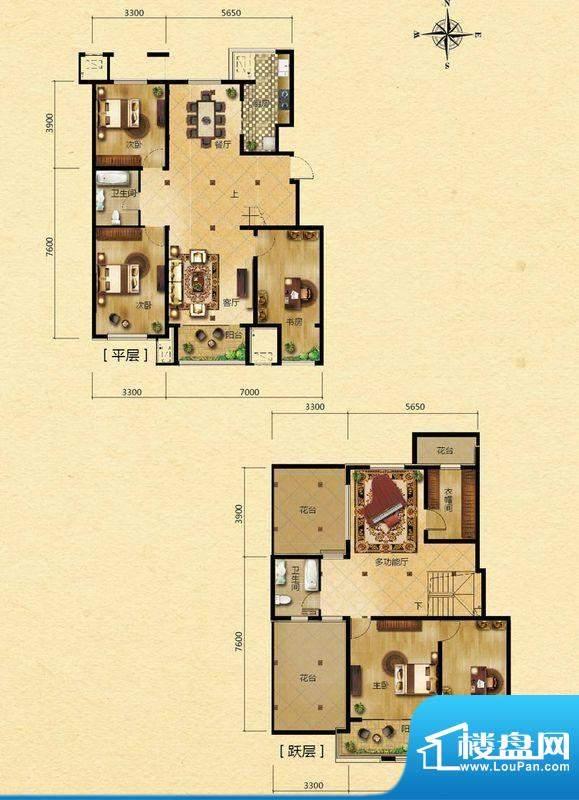 浅山香邑D1户型图 6室3厅3卫1厨面积:230.00平米