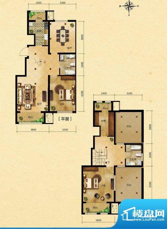 浅山香邑B户型图 2室2厅2卫1厨面积:134.00平米