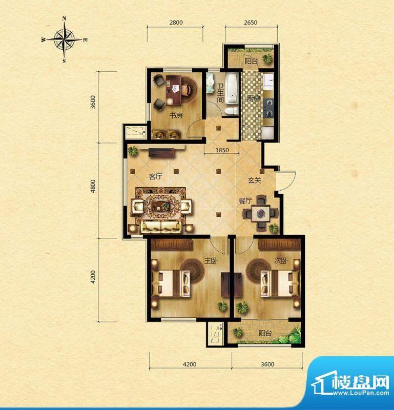 浅山香邑C1户型图 3室2厅1卫1厨面积:119.00平米