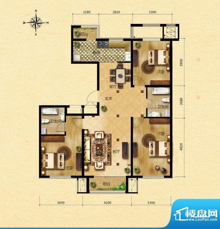 浅山香邑F户型图 3室2厅2卫1厨面积:126.00平米
