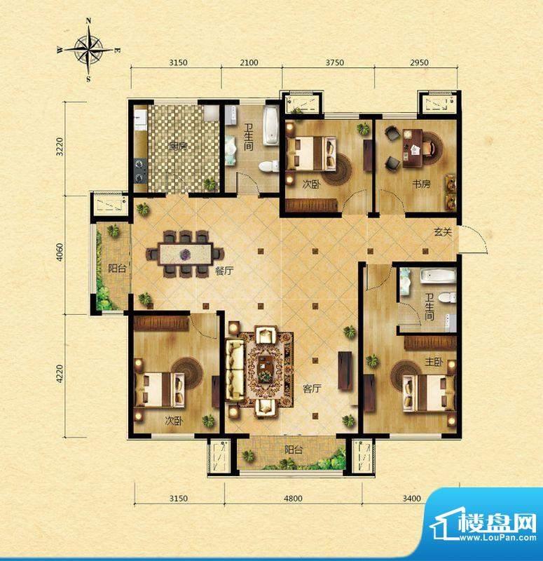 浅山香邑E2户型图 4室2厅2卫1厨面积:160.00平米