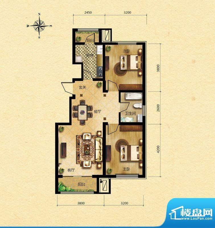 浅山香邑B户型图 2室2厅1卫1厨面积:84.00平米