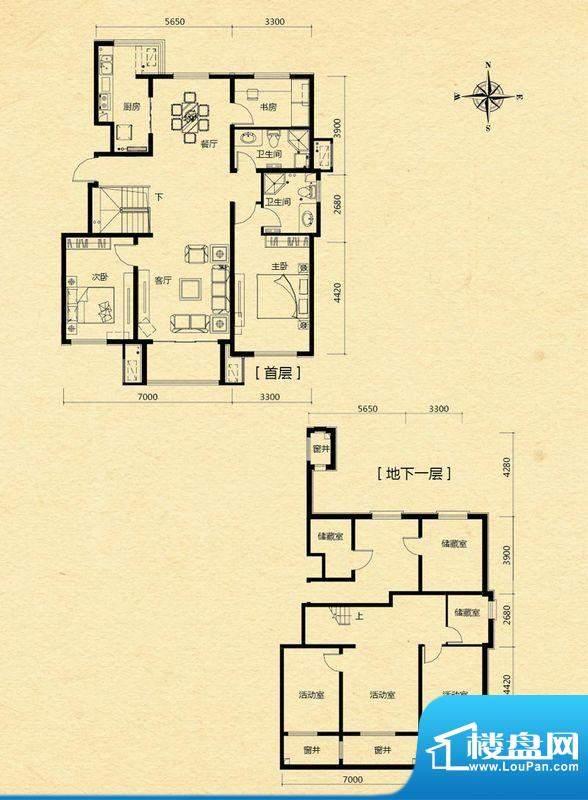 浅山香邑D1户型图 6室2厅2卫1厨面积:201.00平米
