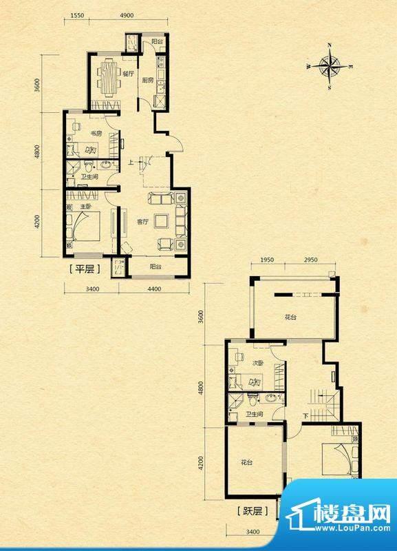 浅山香邑C2户型图 5室3厅2卫1厨面积:169.00平米