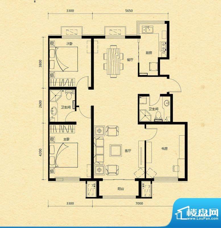 浅山香邑D2户型图 3室2厅2卫1厨面积:121.00平米