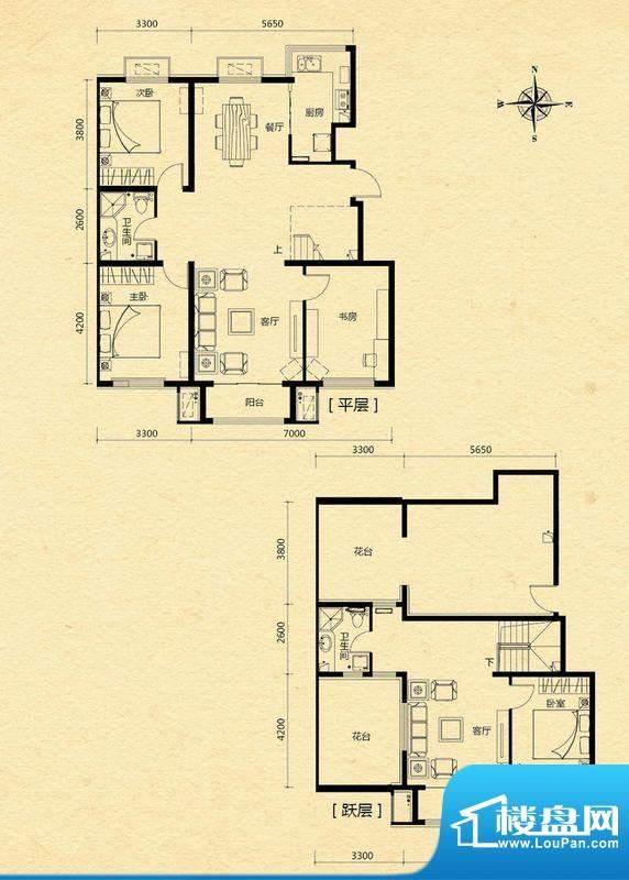 浅山香邑D2户型图 4室3厅2卫1厨面积:182.00平米
