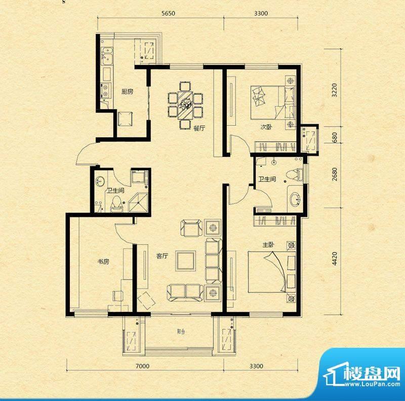 浅山香邑D1户型图 3室2厅2卫1厨面积:130.00平米
